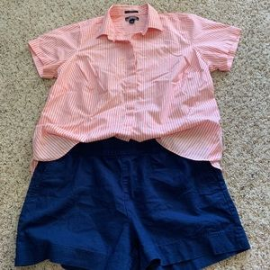 Lands End coral strip wrinkle free button down